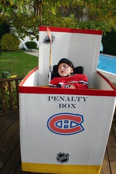 For the hockey fan, use a box to put them in the penalty box for Halloween,