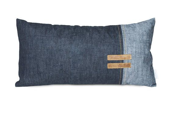 Very original pillow, beautiful in its simplicity. Simple combination of jeans and natural leather. Great design element of a male apartment. This original pillow was made from top quality materials. Cushion is made of jeans and leather. The pillow has a durable zipper on the side.