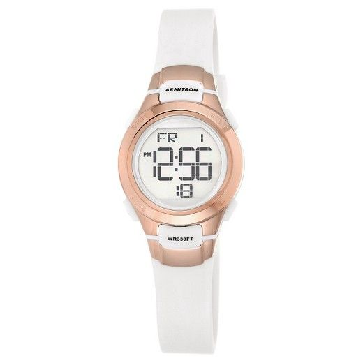 •Features a buckle for a secure fit<br>•Comes with necessary batteries<br>•To clean this watch, use a damp cloth<br>•Comes with 1 Year Limited Warranty<br><br><br>Stay on time and in style with this gorgeous white watch, which features a resin band.  This sports timepiece features a digital time display.
