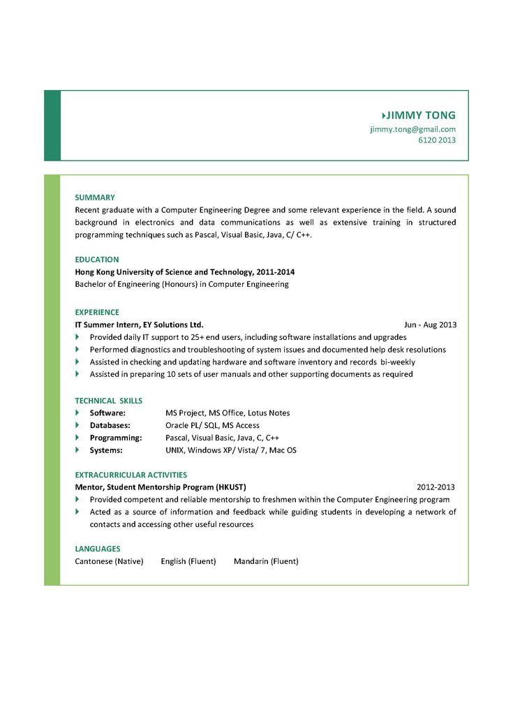 computer engineering graduate cv gnie informatiquecarrire - Resume Informatique Bac Science