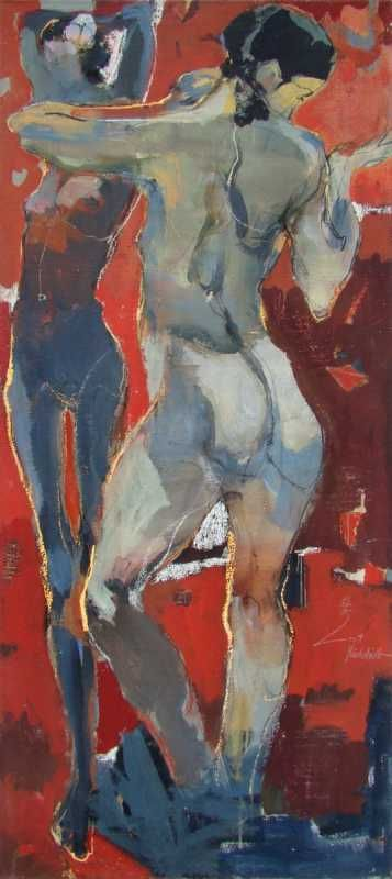 """Eberhard Hueckstaedt   """"Two Before Red""""   Painting / Acrylic On Canvas   57"""" x 26""""   2004   Price on Request #HOHMANN"""