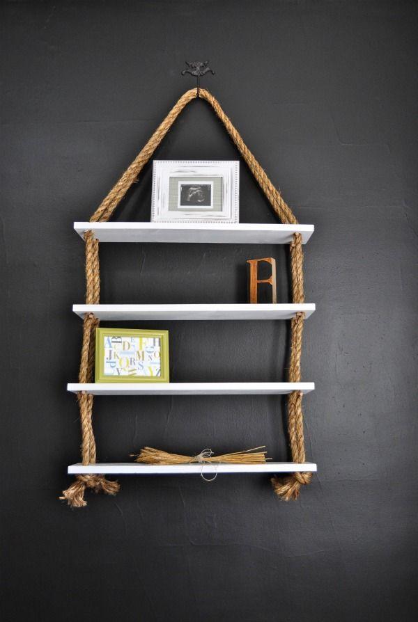ReCreate: DIY Rope Shelves. Cute idea! via: http://recreatehome.blogspot.se/2011/07/diy-rope-shelves-chalkboard-paint.html