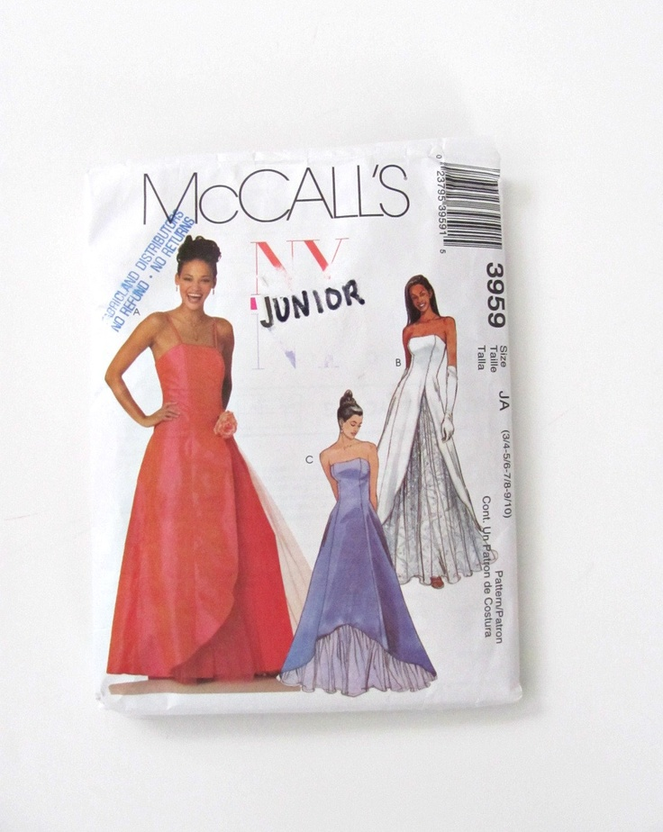 Evening gown sewing pattern wedding dress or bridesmaid for Mccall wedding dress patterns