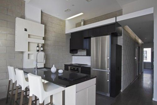 modern very small kitchen ideas in the end of hallway
