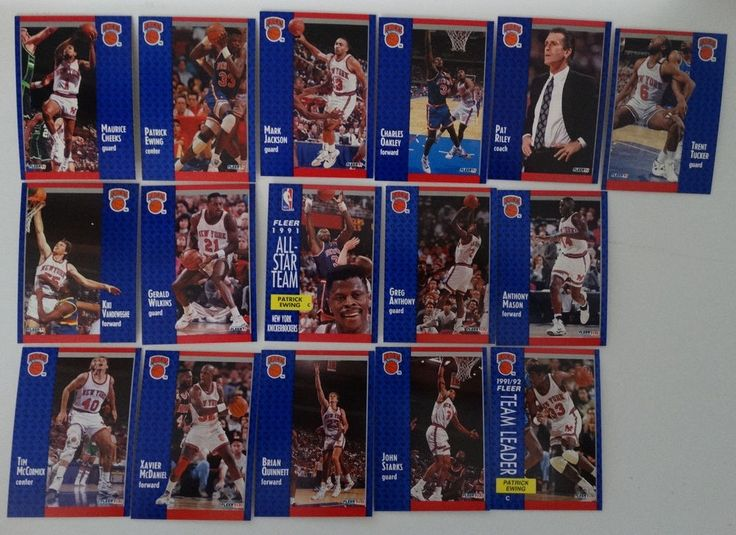 1991-92 Fleer New York Knicks Team Set Of 16 Basketball Cards #NewYorkKnicks