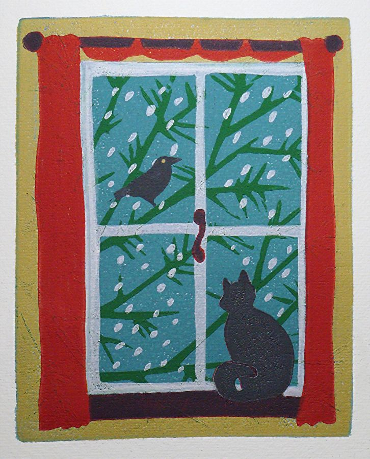 Bird Watching by ANGELA MAHER Archival Inks ~ 6 x 4