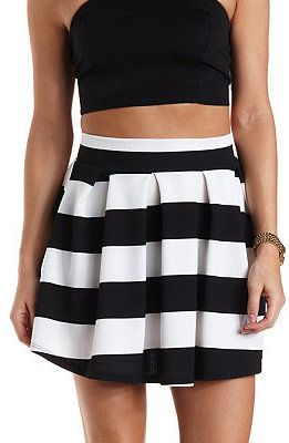 $22, Black and White Horizontal Striped Skater Skirt: Charlotte Russe Striped Pleated Skater Skirt. Sold by Charlotte Russe. Click for more info: https://lookastic.com/women/shop_items/153292/redirect