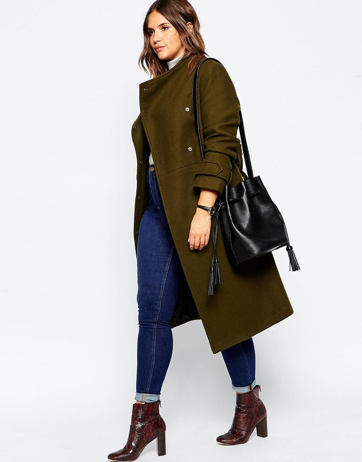Image 4 of ASOS CURVE Funnel Neck Coat