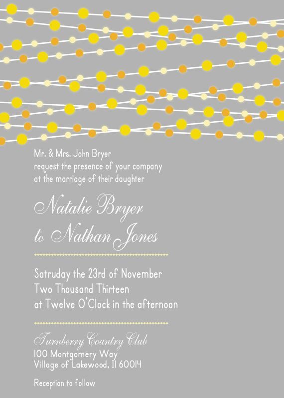 Grey and Yellow Wedding Invitation with Lights by LilyGramDesigns, $15.00