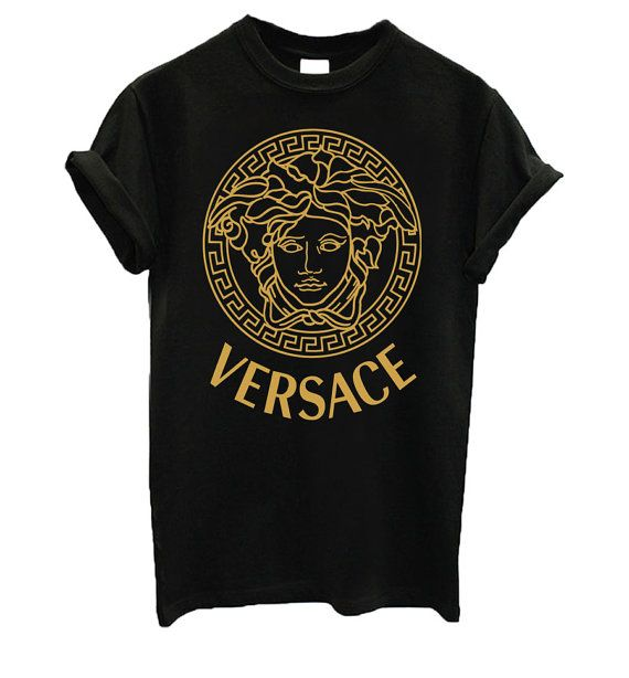 FUCK REALLY $500!!..... Versace Shirt inspired Medusa TShirt Black Gold by Pinyapat, ฿506.00