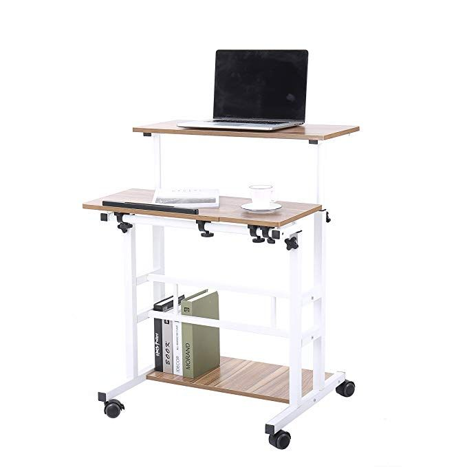 Amazonsmile Unicoo Height Adjustable Sit Stand Workstation Mobile Standing Desk Rolling Presentat Sit Stand Workstation Mobile Standing Desk Standing Desk