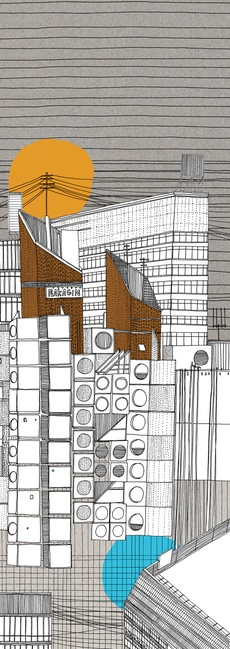 Nakagin capsule tower, illustration, Nigel Peake
