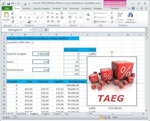 Calcolo TAEG Effettivo Mutuo a Tasso Variabile con Excel  Come calcolare il TAEG o Costo Effettivo e il piano di ammortamento di un mutuo a tasso variabile (non noto) con Microsoft Excel per qualsiasi periodicità temporale, a partire dagli importi effettivi delle rate pagate alla banca alle scadenze periodiche pure esse variabili e con possibilità di prevedere rimborsi anticipati del capitale a scadenze variabili.