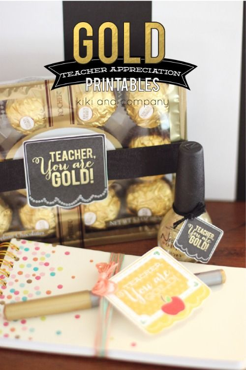 Gold Teacher Appreciation Printables. Take a look at all these ways to show your teacher you are thankful with these FREE Teacher Appreciation Printables plus more teacher appreciation Ideas on Frugal Coupon Living..