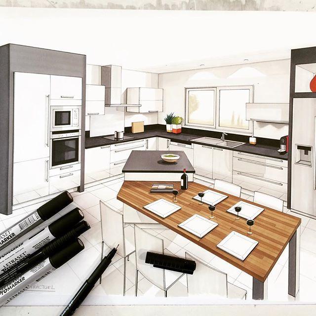 ✏️ #draw #drawing #handmade #arch_more #arch_sketch #kitchen #kitchendesign #interior #interiordesign #arquisketch #promarker #dessin #architecture #architecturestudent #architectinterior #feutre