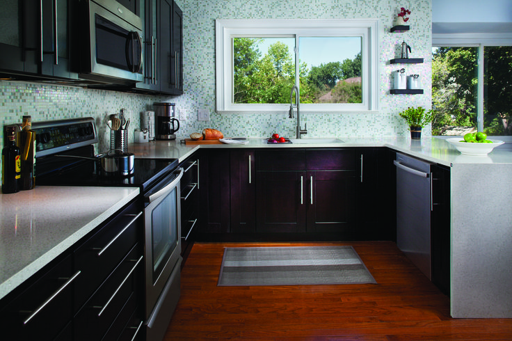 Loving the black cabinets!
