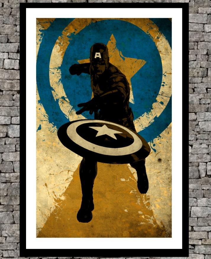 The avengers Captain america- Original illustration super hero art print  $19.00, via Etsy. (Art for Above Cooper's Bed)