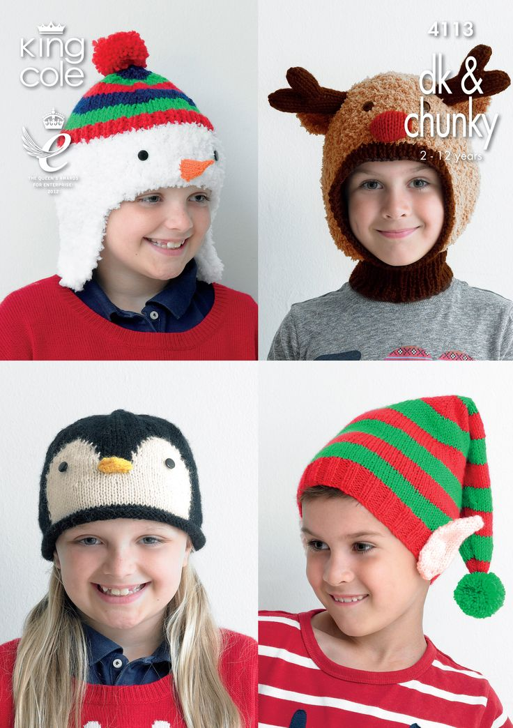 Kids Christmas Novelty Hats - King Cole Knitted Snowman hat, Knitted Rudolph hat, Knitted Snowman hat, Knitted Christmas Elf hat Christmas knitting pattern