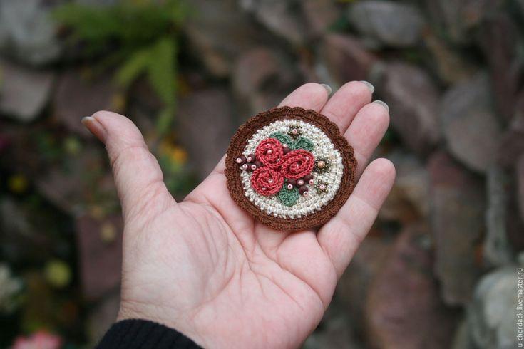 """Купить Брошь """" Милая"""" - комбинированный, бежево-коричневый, бежевый, коричневый, розовый, розы, бохо"""