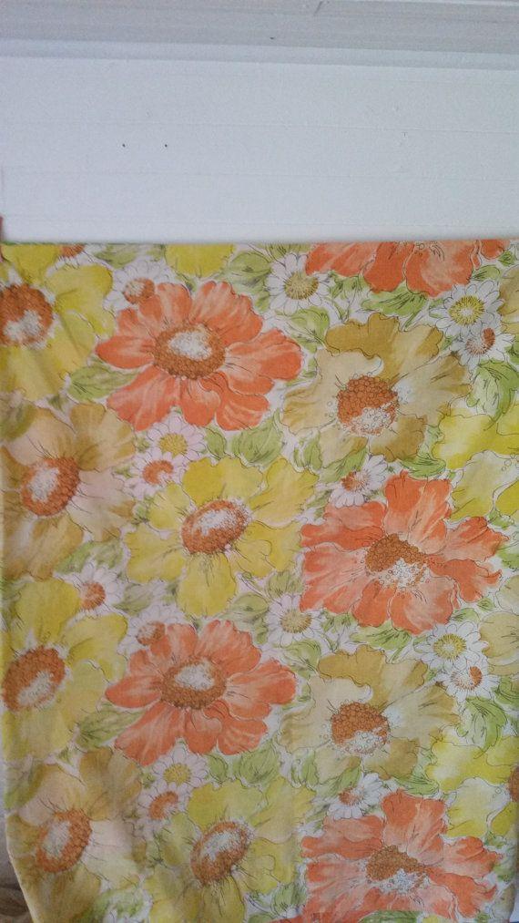 vintage full size flat sheet orange yellow by