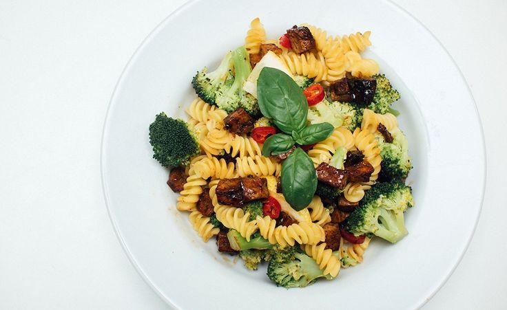 vegansk pasta med bacon oppskrift