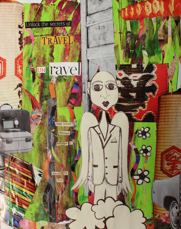 My take on travel. with collage, paint and some drawings of mine cut out and collaged in.