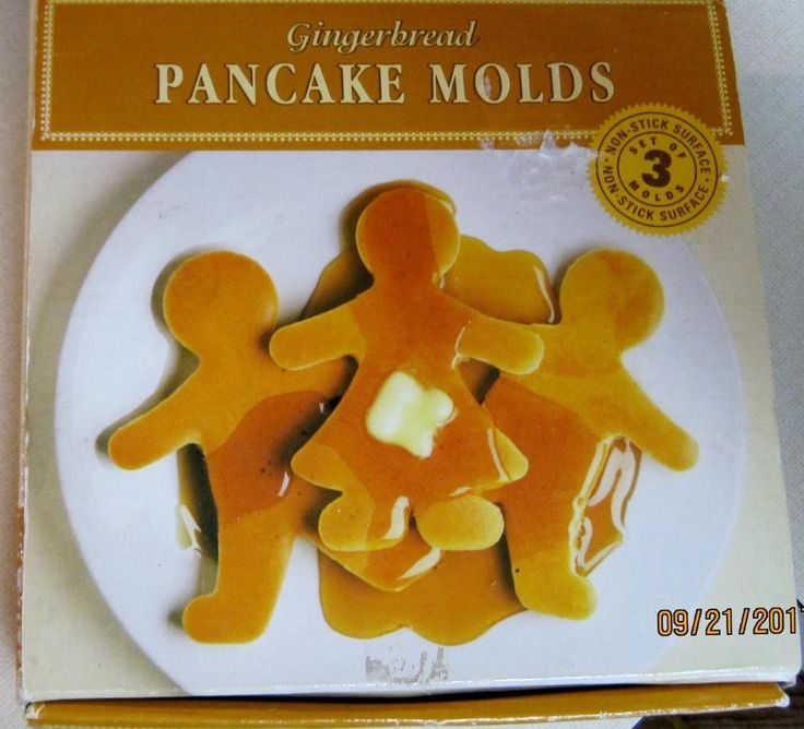 Gingerbread Pancake Molds 3 in Box Non Stick  Recipe and Directions Wm Sonoma