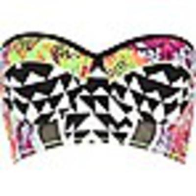 Black mixed-print bustier bikini #swimwear #beachtrip #vacation #sunny #women #covetme