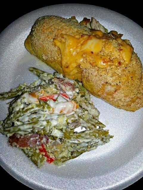 My Lil Foodie Princess Plate of Chicken Cordon Blu with Green Bean Casserole #Chicken #Vegetable #Casserole  ☺☺