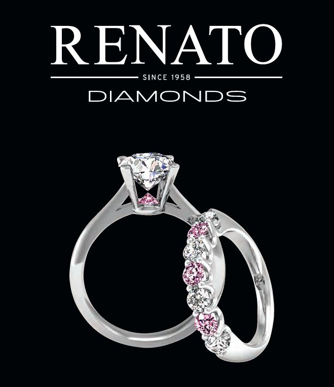 Pink Swept Louvre with Julie design. featuring in the 2015 engagement ring catalogue