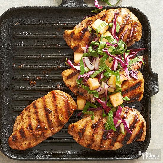 Spiced jerk chicken pairs with tangy cabbage and pineapple slaw for a taste of Jamaica that's so easy to make. Chop the slaw ingredients while the chicken cooks for a healthy dinner in 20 minutes.