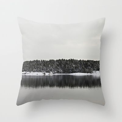 Winter Island Throw Pillow by LinnB -