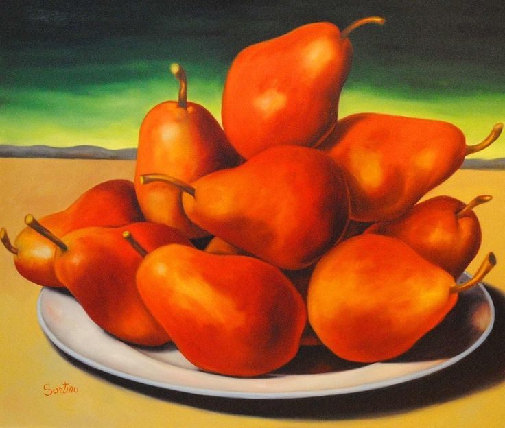 Red Pears in Sunset  48x54 - Carmelo Sortino