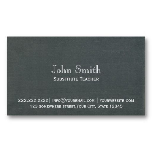 20 best substitute teacher business cards images on pinterest card simple chalkboard substitute teacher business card cheaphphosting Image collections