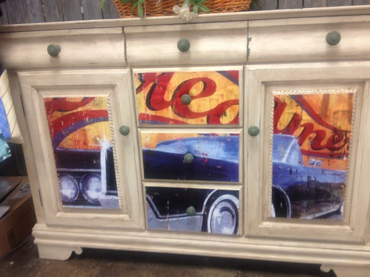 Decoupage poster cabinet