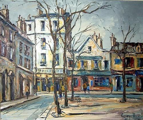 George Hann (20th C.) French street scene, 20 x 24 ins.