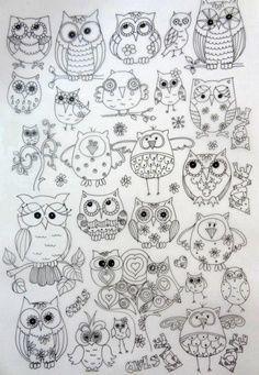 Easy Owl Doodle Owls pattern owls doodles                                                                                                                                                     More