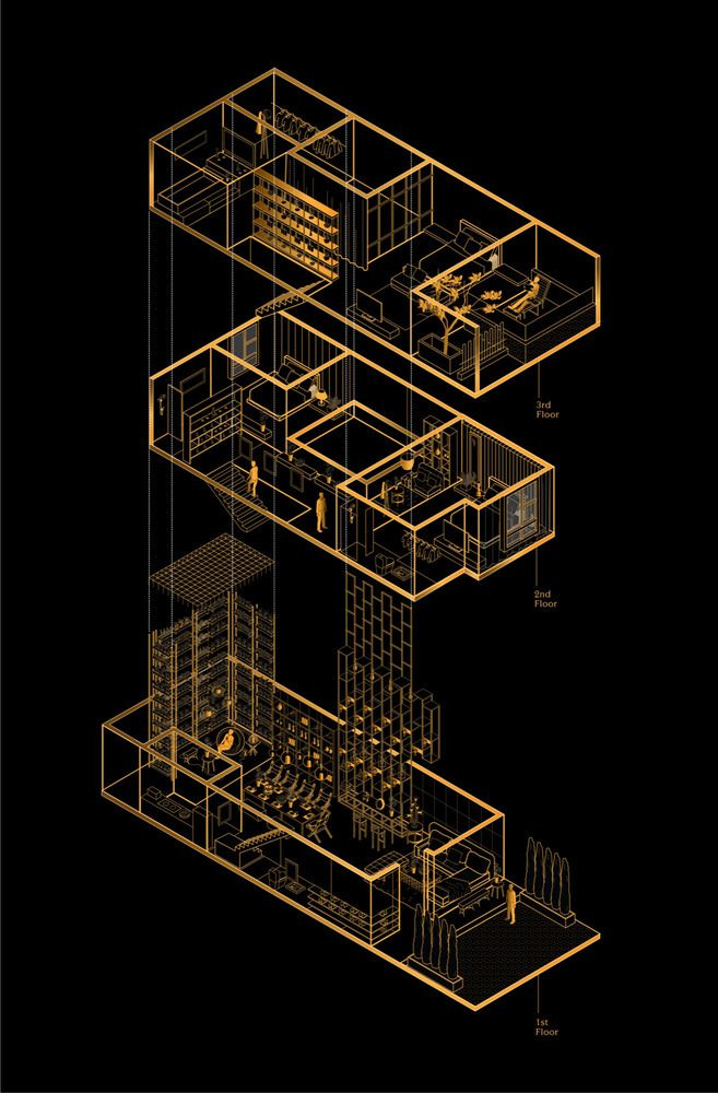Feature House,Exploded Isometric