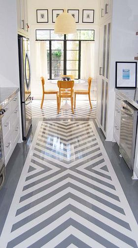 painted floor: Chevron Patterns, Paintings Concrete Floors, Floors Patterns, Floors Design, Paintings Wood, Galley Kitchens, Rugs, Chevron Floors, Paintings Floors
