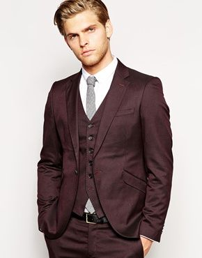 Selected Burgundy Skinny Suit