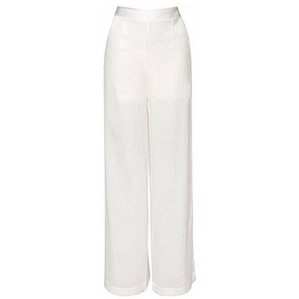 Lemiché - Pleated Silk Palazzo Pants ($275) ❤ liked on Polyvore featuring pants, high waisted wide leg trousers, high-waisted pants, silk palazzo pants, pleated pants and palazzo pants