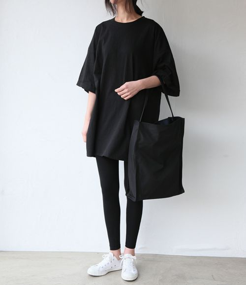 Black on black with white sneakers