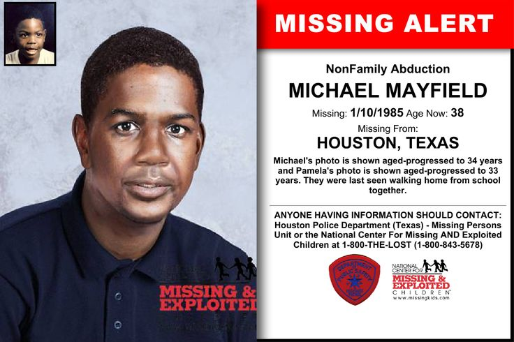 MICHAEL MAYFIELD, Age Now: 38, Missing: 01/10/1985. Missing From HOUSTON, TX. ANYONE HAVING INFORMATION SHOULD CONTACT: Houston Police Department (Texas) - Missing Persons Unit.
