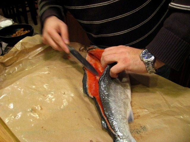 HOW TO FILLET A SALMON - So many people are intimidated with filleting fish.  But it really is simple to do and is much less expensive than buying pre-cut salmon fillets.  In fact, when I bought the Chinook salmon used in this post, it was half as much money per pound for the whole (guts and head removed) than the fillets on their own.  So sharpen your knife, roll up your sleeves, and get ready to cut some fish! http://thebaldgourmet.com/how-to-fillet-a-salmon/