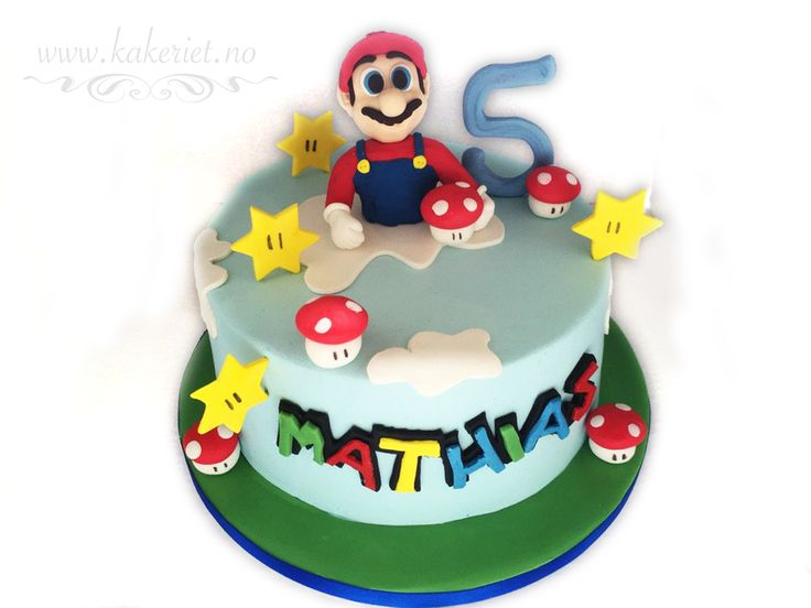 Bursdagskake fra Kakeriet.no i Sandefjord. Birthdaycake for a boy, Super Mario cake