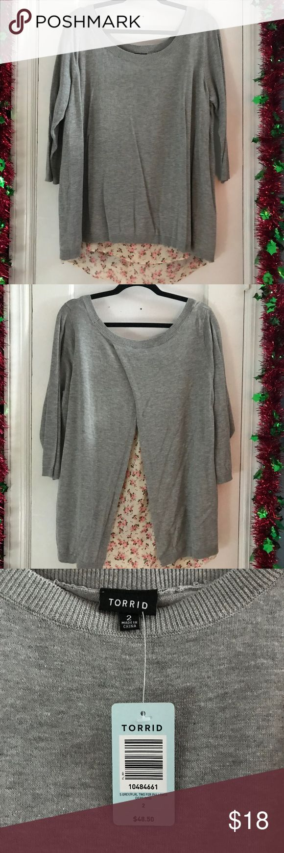 Torrid Floral Knit Layered Sweater Size 2