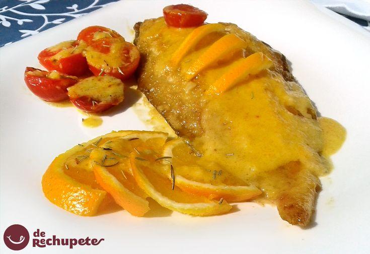 Lenguado al horno con salsa de naranja. Un plato que por su suavidad, sabor y textura encantará a todos. ☆☆