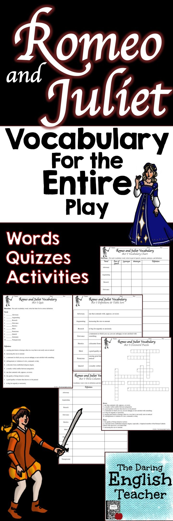This Romeo and Juliet Vocabulary Packet includes vocabulary for the entire play: words, definitions, activities, quizzes. ESL differentiation. Teaching Shakespeare. Teaching English. High School English.