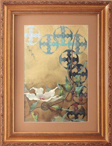 Compoziţie cu simboluri celtice şi floare de clematis by Queen Marie of Romania