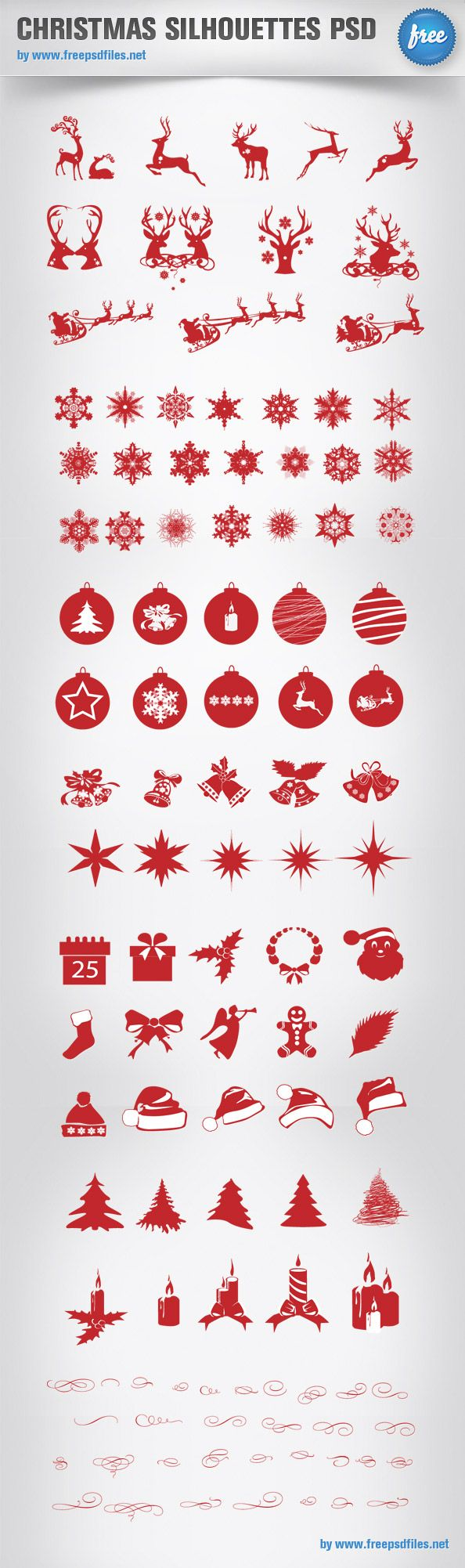 Free Christmas silhouettes pack containing more than 100 icons! That's an impressive set that will surely come in handy for your Christmas designs. Download the PSD file for free! Continue reading →